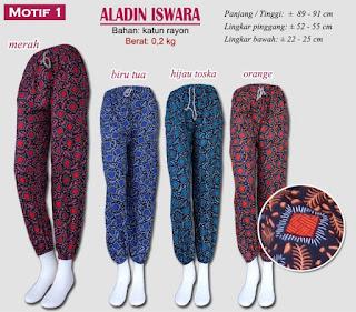 Celana panjang kain motif model aladin - aladin iswara motif 1