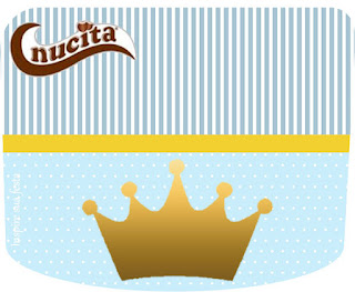 Etiqueta Nucita para Imprimir Gratis de Corona en Fondo Celeste.