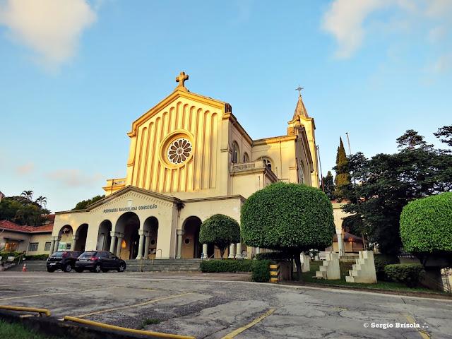 Fachada e lateral da Paroquia Imaculada Conceição - Ipiranga - São Paulo