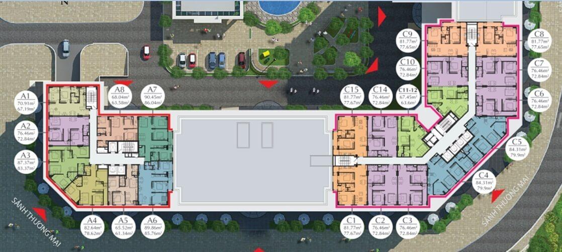 Mặt bằng tầng 9 đến 16 chung cư Ecocity Long Biên.