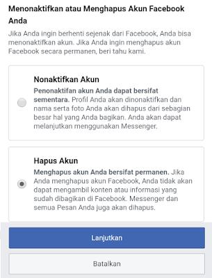 menutup akun facebook permanen