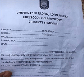 UNILORIN Student Punish For Wearing Jeans