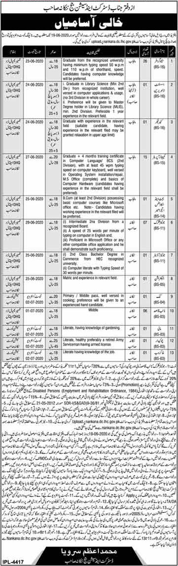 District and Session Judge Jobs 2020 Nankana Sahib Latest