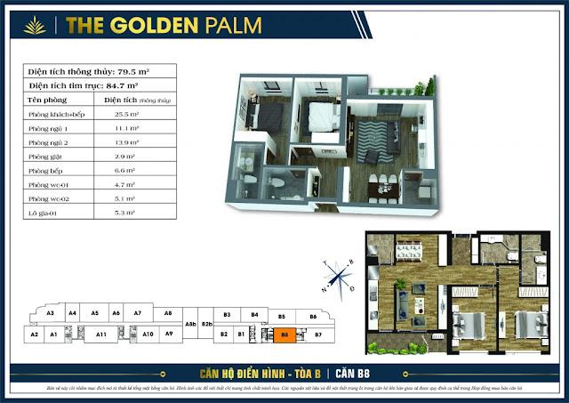 Mặt bằng căn B8 tòa B chung cư The Golden Palm