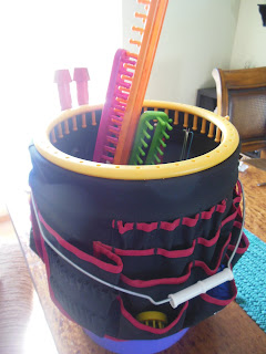 Re-purposed 5 gallon bucket toolbox, to hold sewing and knitting supplies.