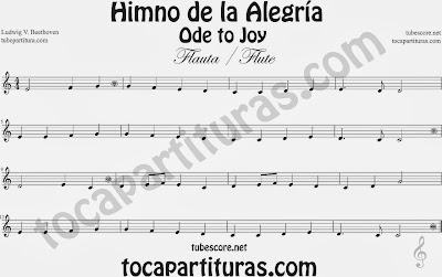 Partitura de para Flauta Travesera, flauta dulce y flauta de pico 9º Sinfonía by Beethoven Sheet Music for Flute and Recorder Music Scores
