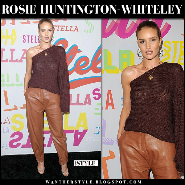 Rosie Huntington-Whiteley in brown one shoulder sweater and cognac leather pants stella mccartney red carpet fashion january 16