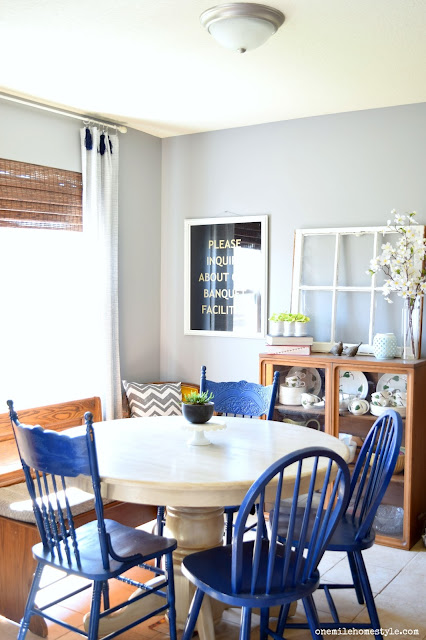 Granite Grey Dining Room with Navy Blue and White Accents - One Mile Home Style