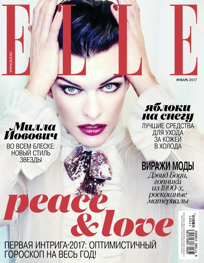 Milla Jovovich covers ELLE Russia - January 2017 by Ellen Von Unwerth.