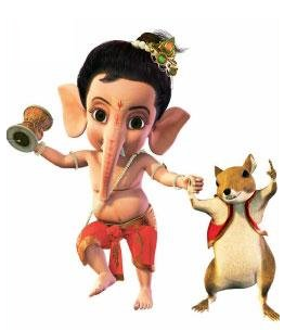 bal ganesh with mouse