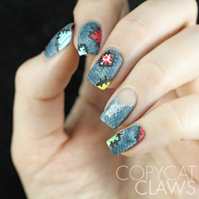 Copycat Claws Blue Color Block Nail Art: Copycat Claws: Patchwork Denim Nail Art