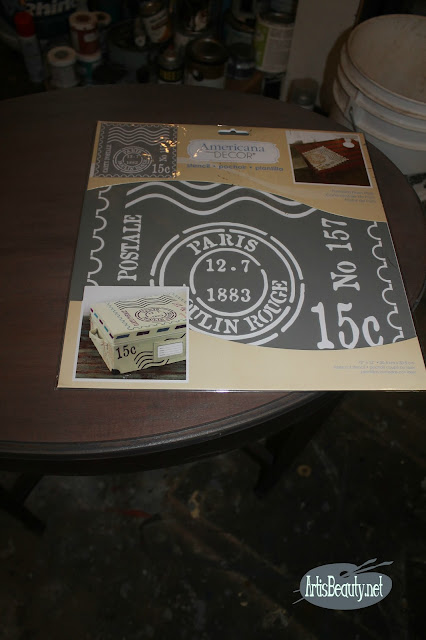 AMERICANA DECOR FRENCH POSTAGE STAMP STENCIL DIY PAINT TABLE MAKEOVER BEFORE AND AFTER MOULIN ROUGE