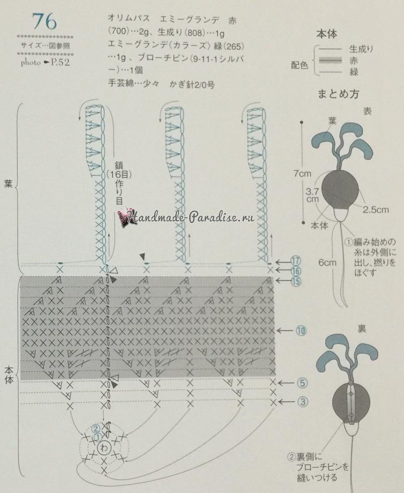 Схема вязания редиса
