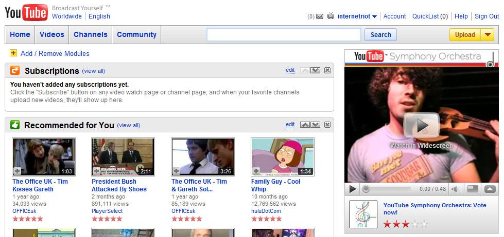 YouTube dating website