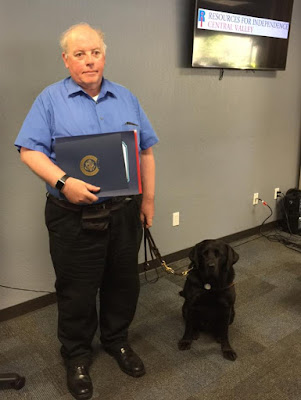 William Elliott and Guide  Dog Leif after graduating Resources for Independence Central Valley Community Leadership Course.