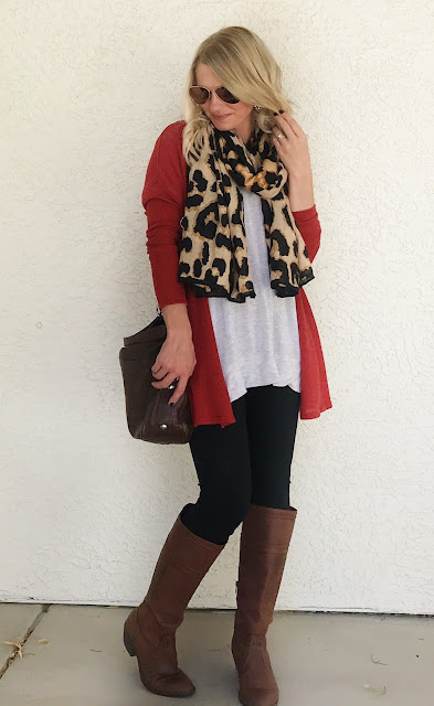 Thrifty Wife, Happy Life- Orange cadigan with leggings and leopard scarf
