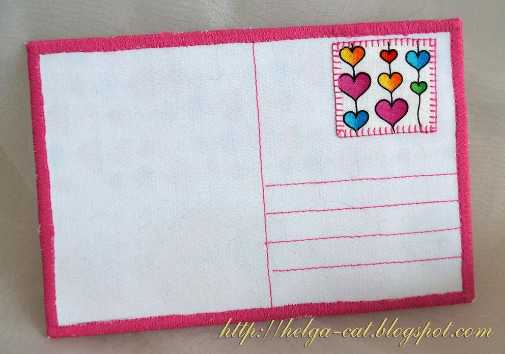 Как сшить текстильную открытку, днем рождения шикарный