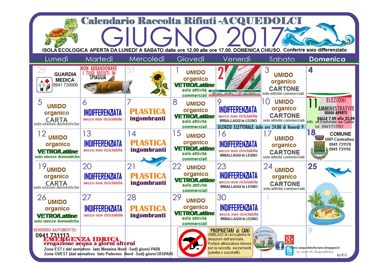 Calendario Raccolta Differenziata Sanremo.Raccolta Differenziata Il Calendario Del Mese Di Giugno 2017