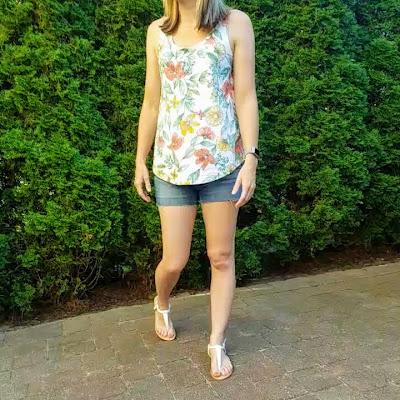 floral tank jean shorts