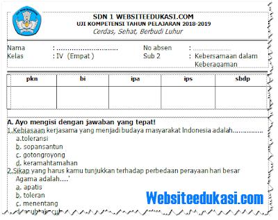 Soal UH/ PH Kelas 4 SD/MI Semester 1 K13 Tahun 2018/2019