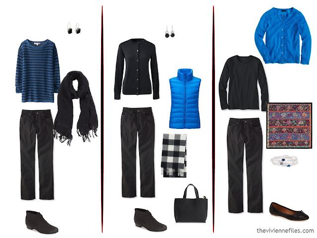 Three ways to wear black jeans with bright blue