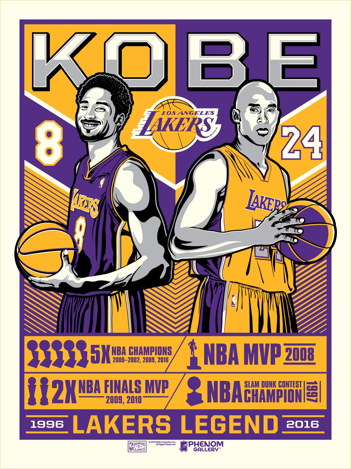 "c6fb4dd33b50 Los Angeles Lakers ""Legend of Kobe Bryant"" Screen Print by Stolitron x  Phenom Gallery. """