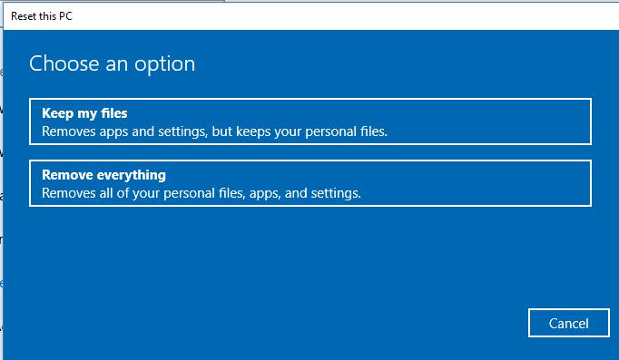 Reset Windows 10 tanpa kehilangan data