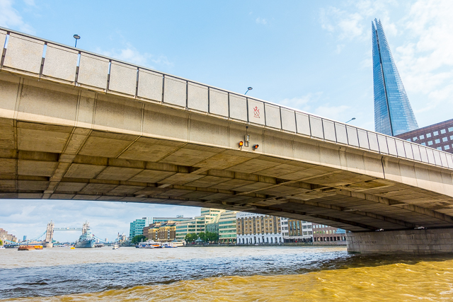 View of London Bridge from Thames River Boat - London, England