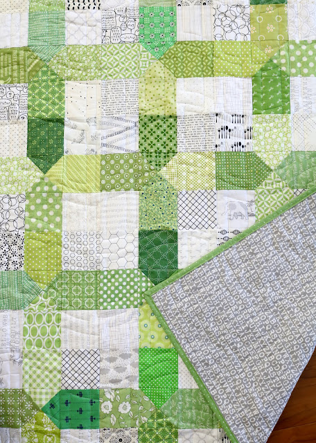 Scrappy Nine Patch X quilt by Andy of A Bright Corner