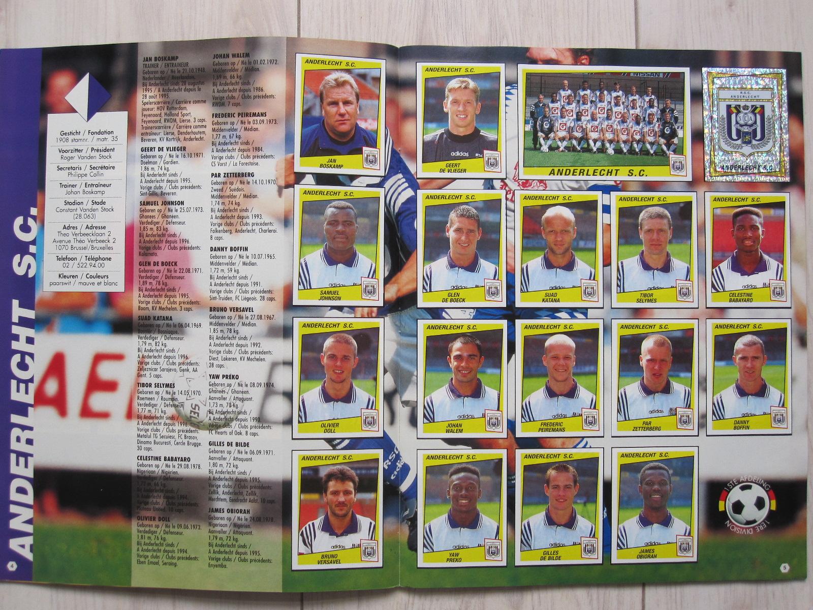 PEIREMANS 37 ANDERLECHT -New FOOTBALL 98 BELGIO Panini -Figurina-Sticker n