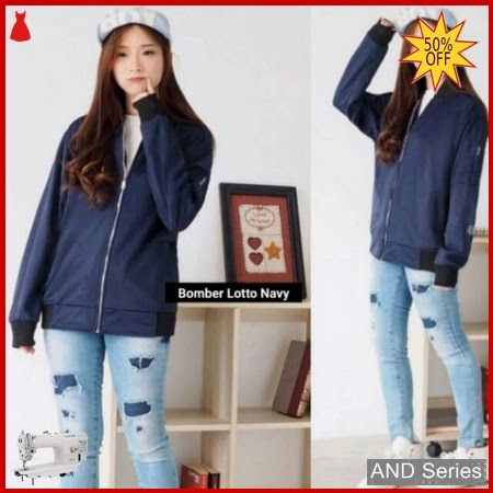 AND423 Jaket Wanita Bomber Lotto Biru Navy BMGShop