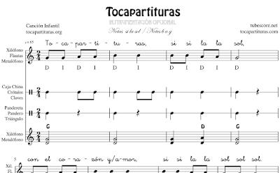 Muchas Naranjitas Infantil Partitura de Xilófono & Metalófono Flauta Pequeña Percusión Pandero Pandereta Triángulo Claves Caja China...