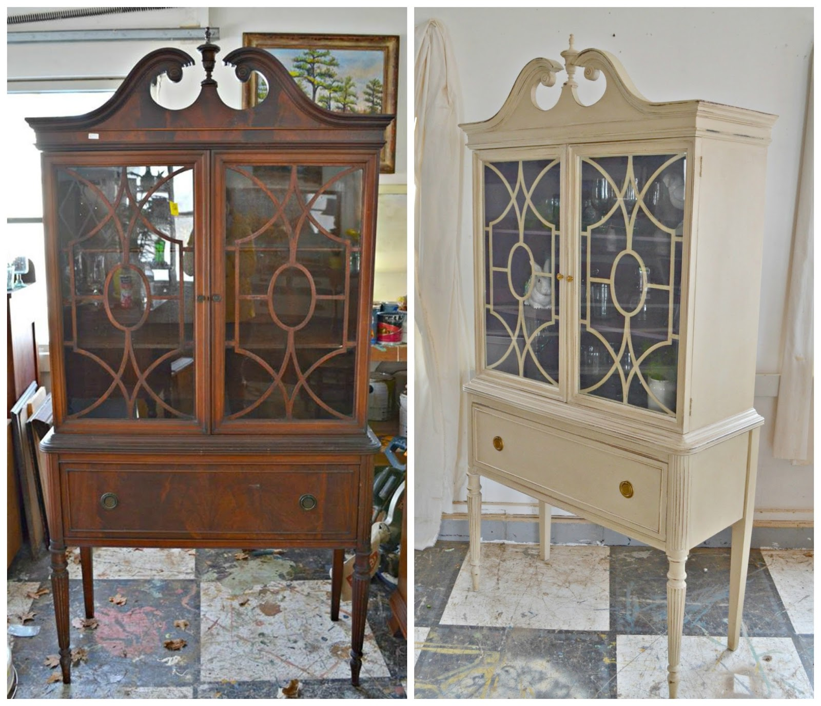 heir and space a mahogany china hutch in cream an amethyst. Black Bedroom Furniture Sets. Home Design Ideas
