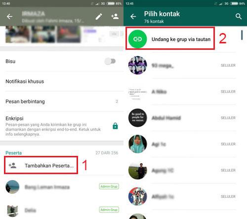 cara menginvite teman masuk grup whatsapp