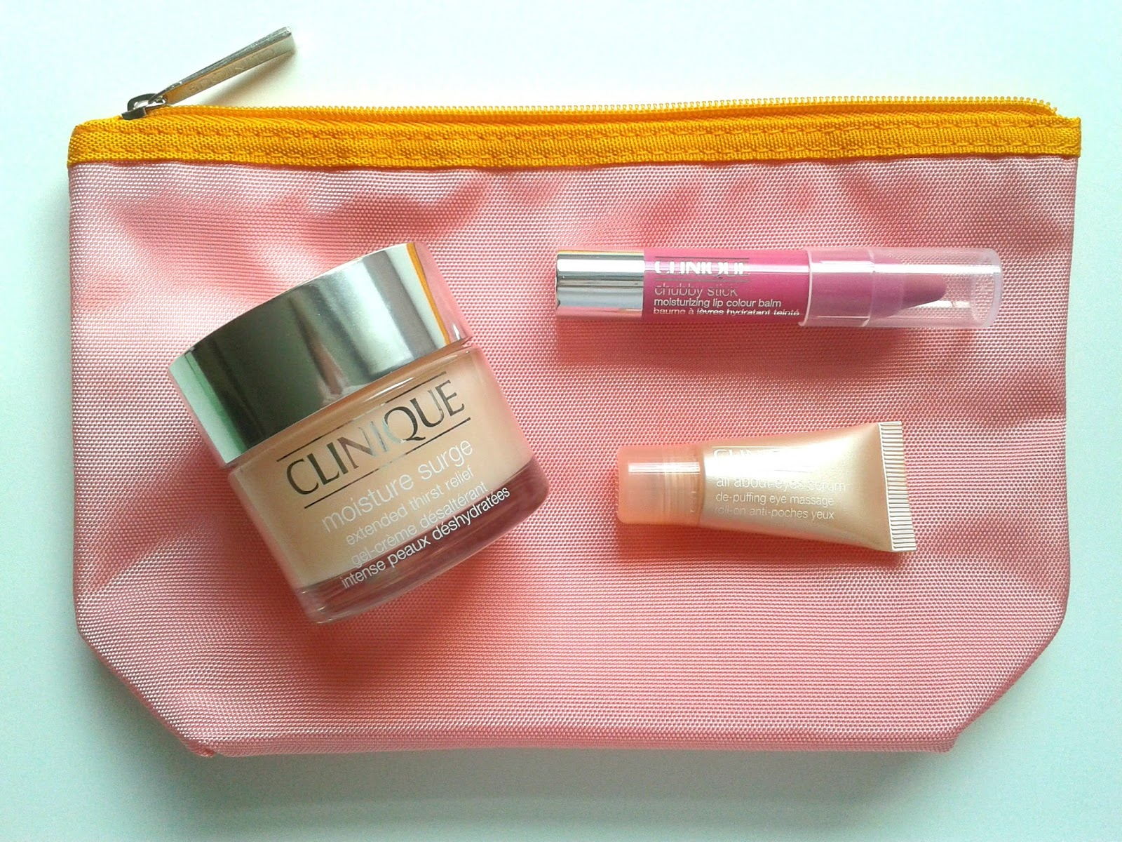 Clinique Moisture Favourites Set Beauty Review Clinique Chubby Stick Moisturising Lip Colour Balm in Woppin' Watermelon Clinique Moisture Surge Extended Thirst Relief Clinique All About Eyes Serum De-Puffing Eye Massage