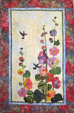 HUMMINGBIRDS AND HOLLYHOCKS