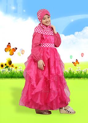 Baju Pesta Anak Perempuan Muslim Pink