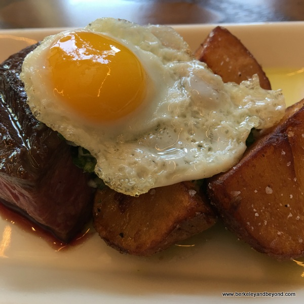 steak with quail egg at Sabio on Main in Pleasanton, California