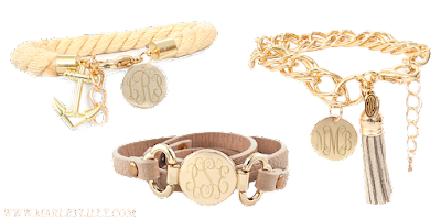 White Background of 3 Monogrammed Bracelets in Beige
