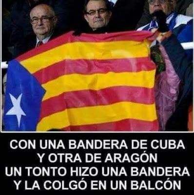 Con una bandera de Cuba y otra de Aragón un tonto hizo una bandera y la colgó en un balcón