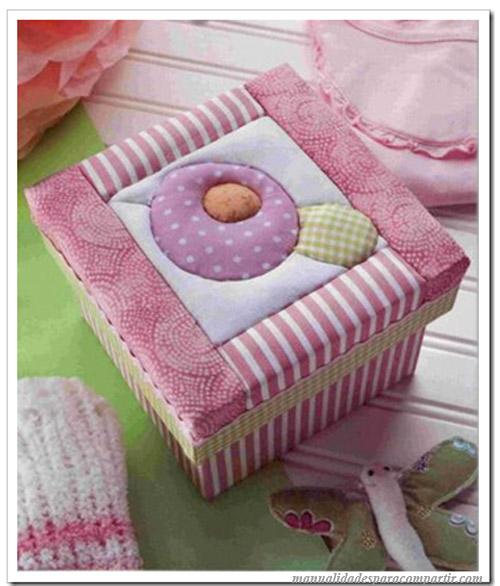 Manualidades para compartir manualidades patchwork cajas decoradas con tela paso a paso - Telas para decorar ...