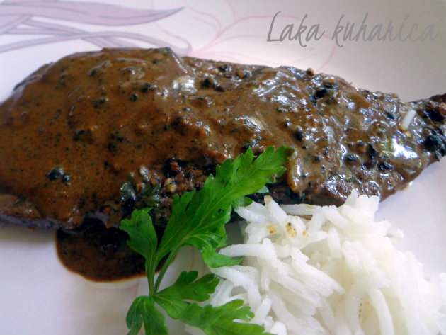Steak with black pepper sauce by Laka kuharica: delicious meal of a humble steak combined with freshly cracked black peppercorns sauce.