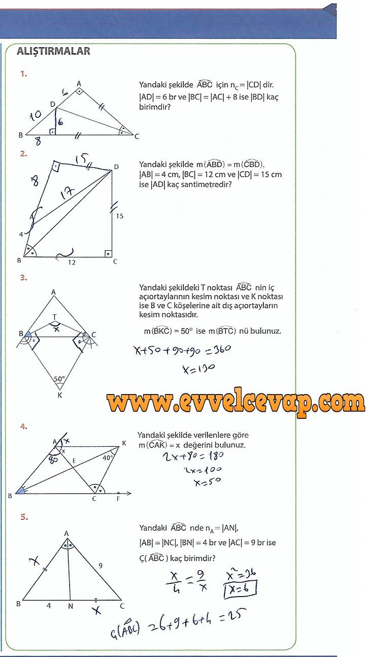 9.Sınıf Matematik MEB Yayınları Ders Kitabı 234.Sayfa Cevapları Üçgenler