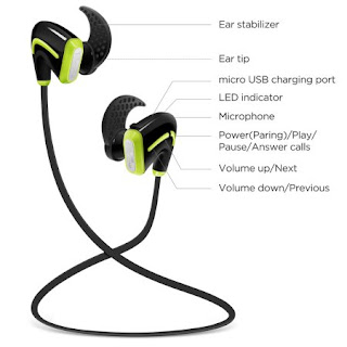 Photive PH-BTE50 Wireless Bluetooth Earbuds. Wireless Sports Earphone Headphones with built-in Microphone