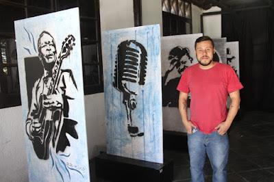 Arte da Oficina de Grafitti da Ilha foi exposta  no Ilha Blues Festival Internacional