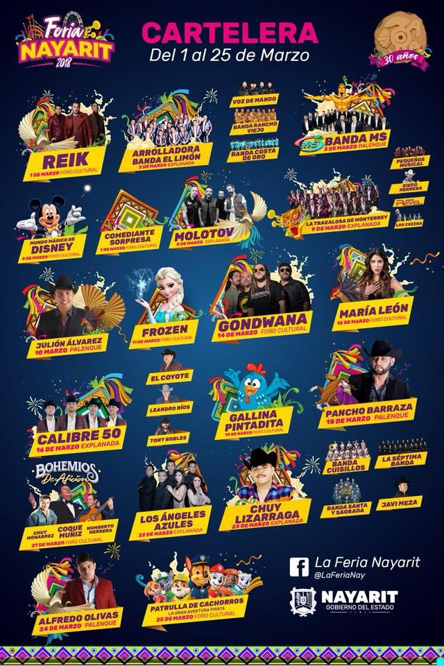 cartelera feria nayarit 2018