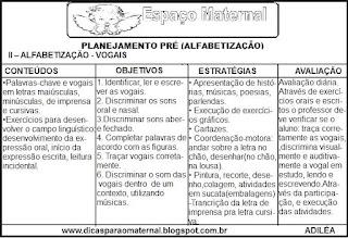 Planejamento de português pré(alfabetização)