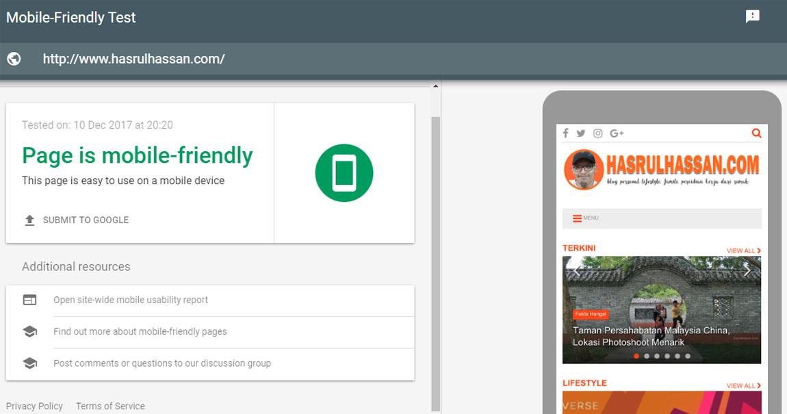 Blog ini adalah 100% responsif dan patuh Mobile-Friendly Test oleh Google Inc