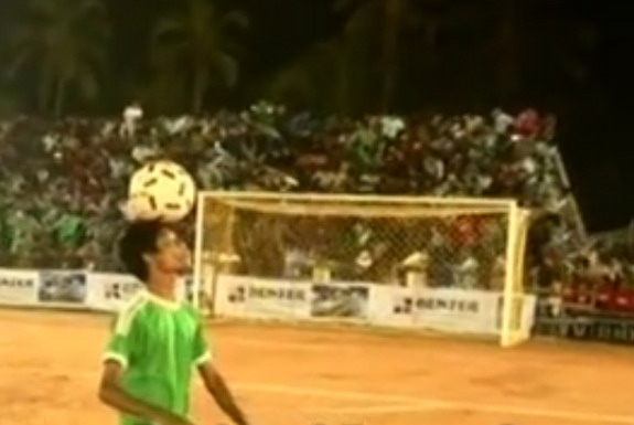 An entire football stand crumbled minutes before the inaugural of a tournament in India