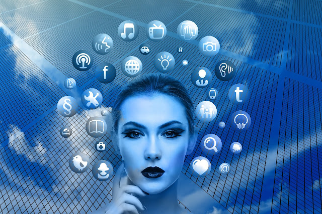 Womans face surrounded by web icons